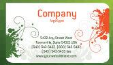 Art & Entertainment: 白い植物の装飾と緑色の背景 - 名刺テンプレート #05621