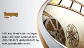 Art & Entertainment: Film Reel In Light Brown Color Business Card Template #06599