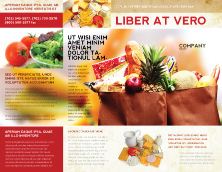 Grocery Bag Brochure Template, Outer Page, 00972, Food & Beverage — PoweredTemplate.com