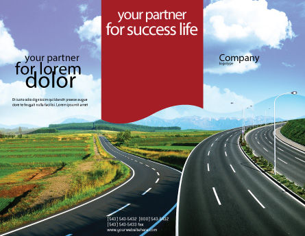 Highway Under Blue Sky Brochure Template Outer Page