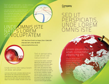 Terrestrial Globe Brochure Template, Outer Page, 01541, Global — PoweredTemplate.com