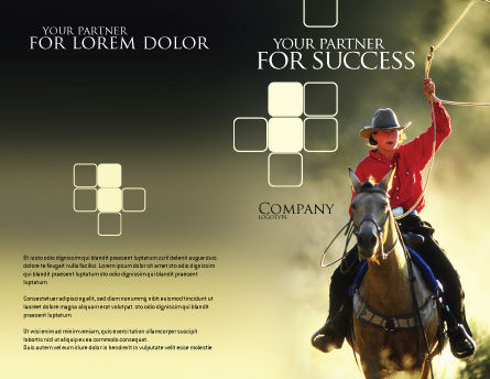 Cowboy Brochure Template, Outer Page, 01588, America — PoweredTemplate.com