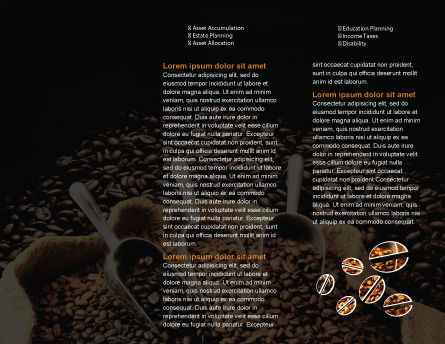 Coffee Beans In A Bag Brochure Template, Inner Page, 01613, Food & Beverage — PoweredTemplate.com