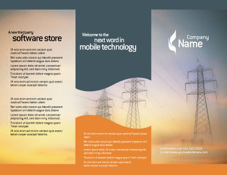 Power Line Brochure Template, Outer Page, 01638, Utilities/Industrial — PoweredTemplate.com
