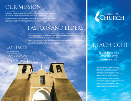 San Francisco de Asis Mission Church Brochure Template, Outer Page, 01655, Religious/Spiritual — PoweredTemplate.com
