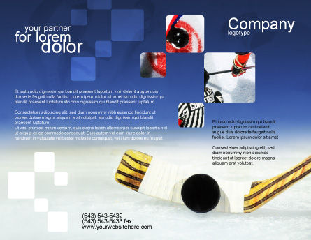 Hockey Brochure Template, Outer Page, 01700, Sports — PoweredTemplate.com