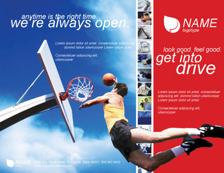 Flying Basketballer Brochure Template, Outer Page, 01713, Sports — PoweredTemplate.com