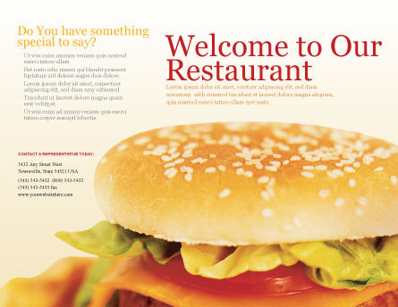 Modèle de Brochure de fast food, Page extérieure, 01741, Food & Beverage — PoweredTemplate.com
