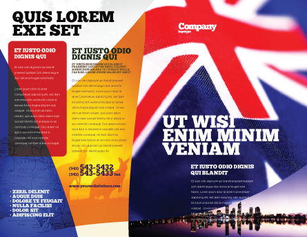 Australian Flag Brochure Template, Outer Page, 01774, Flags/International — PoweredTemplate.com