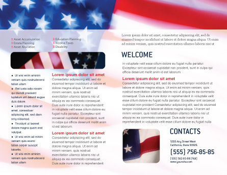 Flag of the United States of America Brochure Template, Inner Page, 01851, America — PoweredTemplate.com