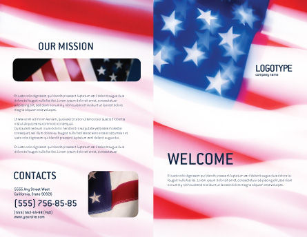 Flag of the United States of America Brochure Template, Outer Page, 01851, America — PoweredTemplate.com