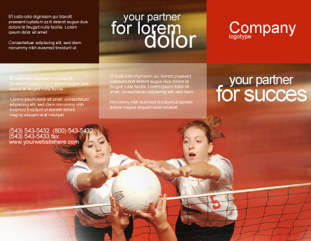 Volleyball Brochure Template, Outer Page, 01862, Sports — PoweredTemplate.com