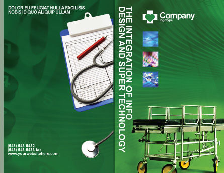Stretcher Brochure Template, Outer Page, 01865, Medical — PoweredTemplate.com
