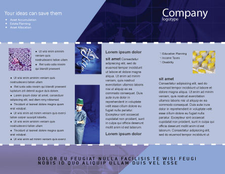 Caduceus In Deep Blue Colors Brochure Template, Inner Page, 01881, Medical — PoweredTemplate.com