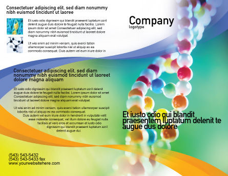 DNA On A Green Yellow Blue Brochure Template, Outer Page, 01884, Medical — PoweredTemplate.com
