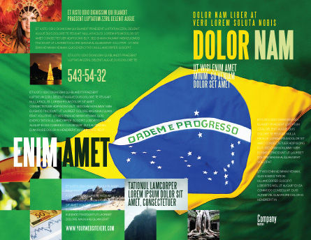 Brazilian Flag Brochure Template, Outer Page, 01915, Flags/International — PoweredTemplate.com