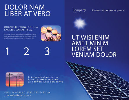 Solar Panels Rising Up Power Brochure Template, Outer Page, 01936, Technology, Science & Computers — PoweredTemplate.com