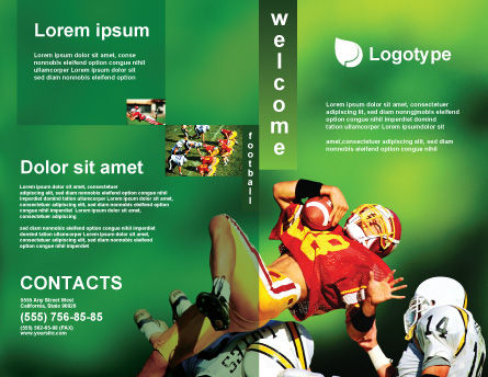 Gridiron Football Brochure Template, Outer Page, 02030, Sports — PoweredTemplate.com