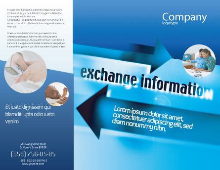 Information Exchange Brochure Template, Outer Page, 02125, Telecommunication — PoweredTemplate.com