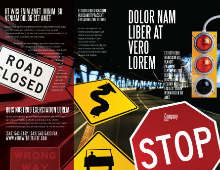 Road Sign Brochure Template, Outer Page, 02198, Education & Training — PoweredTemplate.com