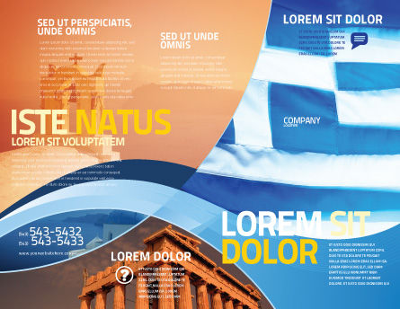 Flag of Greece Brochure Template, Outer Page, 02208, Flags/International — PoweredTemplate.com