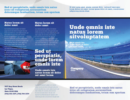 Highway In A Blue Distance Brochure Template, Outer Page, 02214, Construction — PoweredTemplate.com
