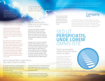 Blue Sky With Sunbeams Brochure Template, Inner Page, 02216, Religious/Spiritual — PoweredTemplate.com
