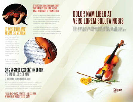 Violin And Yellow Flowers Brochure Template, Outer Page, 02225, Art & Entertainment — PoweredTemplate.com