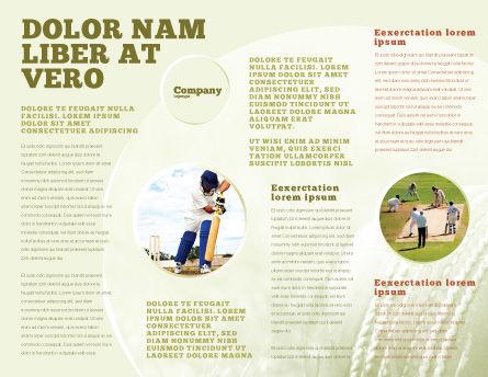 Cricket Field Brochure Template, Inner Page, 02251, Sports — PoweredTemplate.com