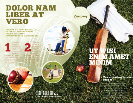 Cricket Field Brochure Template, Outer Page, 02251, Sports — PoweredTemplate.com