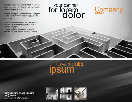 Gray Labyrinth Brochure Template, Outer Page, 02270, Business Concepts — PoweredTemplate.com