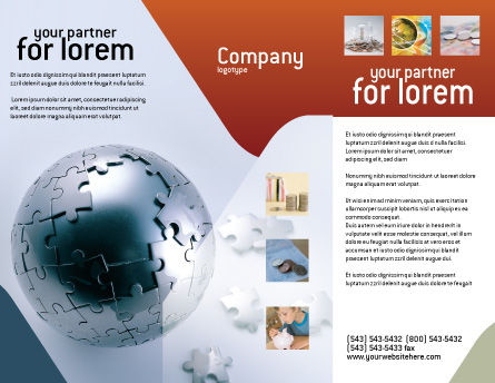 World Puzzle Brochure Template, Outer Page, 02301, Global — PoweredTemplate.com