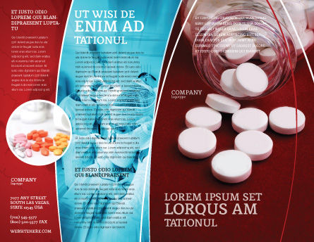 Pills From The Bottle Brochure Template, Outer Page, 02414, Medical — PoweredTemplate.com