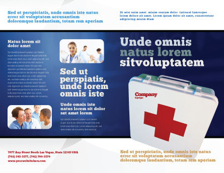 First Aid Brochure Template, Outer Page, 02490, Medical — PoweredTemplate.com