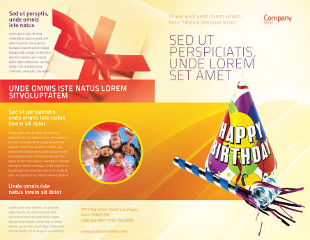 Birthday Brochure Template, Outer Page, 02513, Holiday/Special Occasion — PoweredTemplate.com