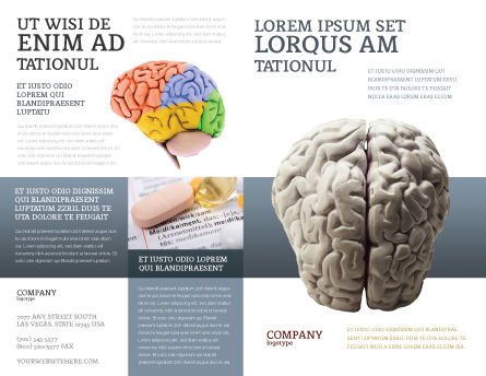 Brain In Gray Brochure Template, Outer Page, 02541, Medical — PoweredTemplate.com