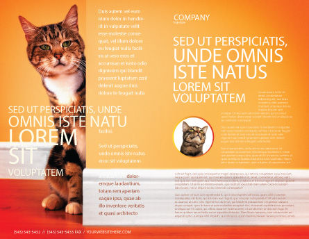 Curious Cat Brochure Template, Outer Page, 02560, Agriculture and Animals — PoweredTemplate.com