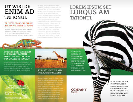 Zebra Brochure Template, Outer Page, 02564, Agriculture and Animals — PoweredTemplate.com
