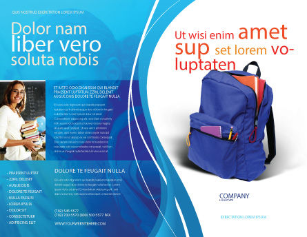 School Backpack Brochure Template Outer Page