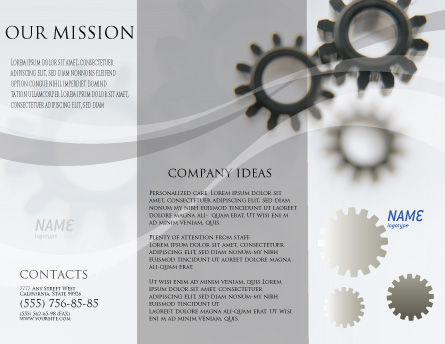 Gears Brochure Template, Outer Page, 02605, Utilities/Industrial — PoweredTemplate.com