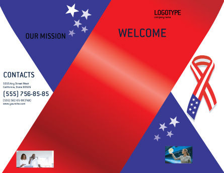 Patriot Ribbon Brochure Template, Outer Page, 02739, Holiday/Special Occasion — PoweredTemplate.com