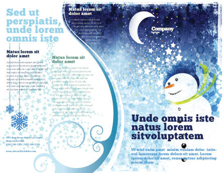 Snowman Brochure Template, Outer Page, 02847, Holiday/Special Occasion — PoweredTemplate.com