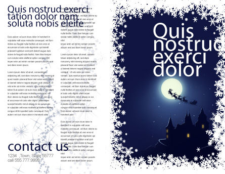 Santa's Sleigh On The Background Of The Moon Brochure Template, Outer Page, 02850, Holiday/Special Occasion — PoweredTemplate.com