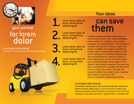 Yellow Loader Brochure Template, Inner Page, 02863, Cars/Transportation — PoweredTemplate.com