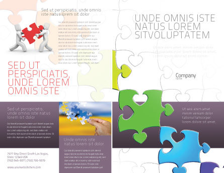 Fancy Jigsaw Brochure Template, Outer Page, 02895, Business Concepts — PoweredTemplate.com