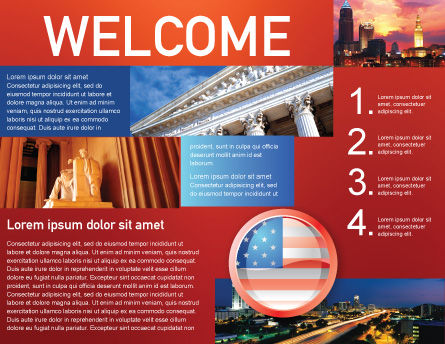 US Flag Brochure Template, Inner Page, 02905, Flags/International — PoweredTemplate.com