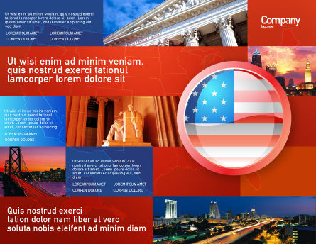US Flag Brochure Template, Outer Page, 02905, Flags/International — PoweredTemplate.com