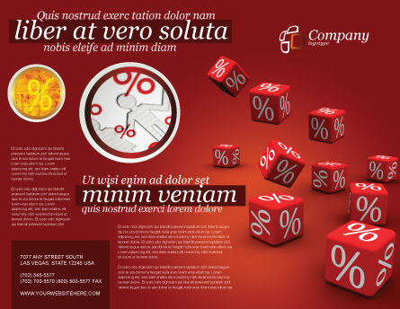 Red Percent Cubes Brochure Template, Outer Page, 02987, Financial/Accounting — PoweredTemplate.com