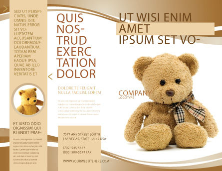 Teddy Bear On A White Background Brochure Template, Outer Page, 02999, Holiday/Special Occasion — PoweredTemplate.com