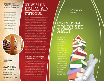 Books Stack In Hands Brochure Template, Outer Page, 03029, Education & Training — PoweredTemplate.com